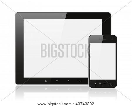 Moderno realista digital PC tablet com smartphone