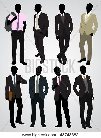 Eight Businessman Silhouettes