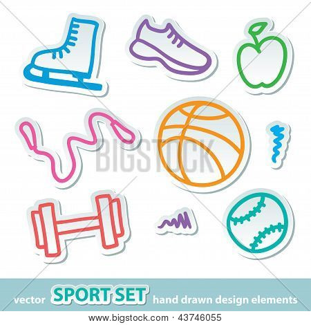 hand drawn sport stickers