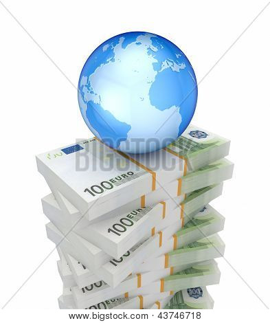 Packs of euro and Earth.