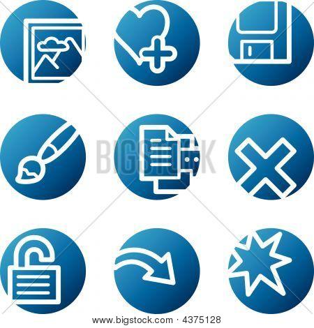 Image Viewer Web Icons, Blue Circle Series Set 2