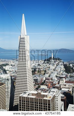 Areal view on Transamerica  building, Coit Tower and Alcatraz Island in San Francisco