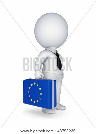 Suitcase with flag of EU.