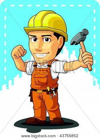 Cartoon of Industrial Construction Worker
