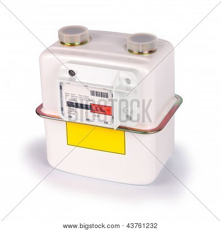Natural Gas Meter Isolated On White With Clipping Path