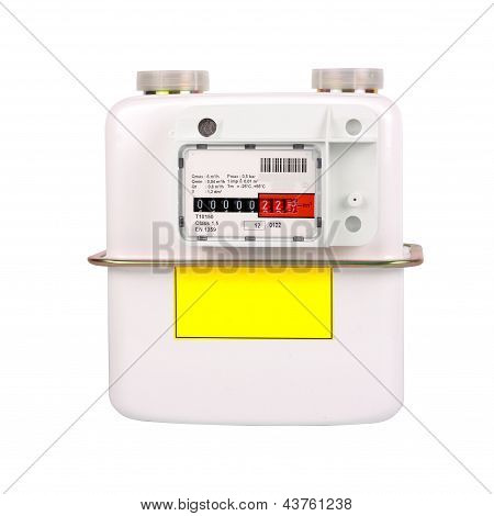 Natural Gas Meter Isolated On White Background