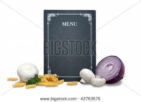 Chalkboard Menu In Retro Look With Fresh Vegetables And Pasta