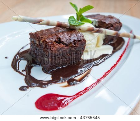 Fancy Dessert, Chocolate Brownie And Ice Cream