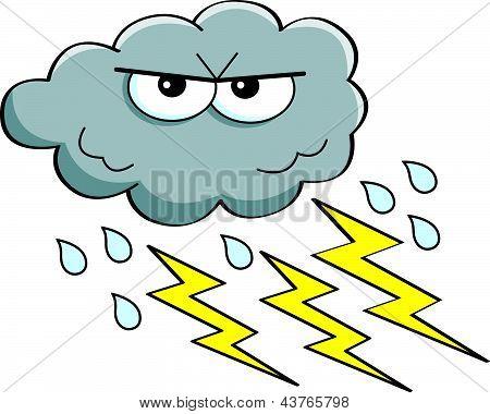 Nube de tormenta de dibujos animados