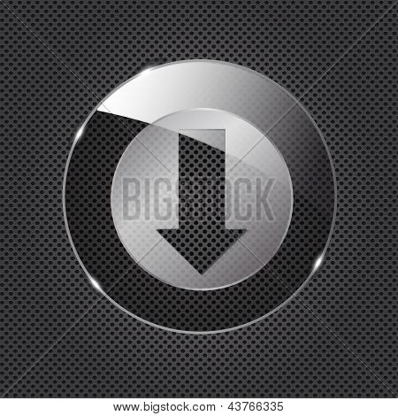Glass download button icon on metal background. Vector illustrat