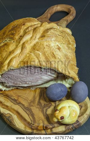 Delicious big ham baked in bread dough