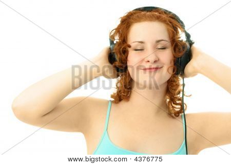 Happy Girl Listening To The Music