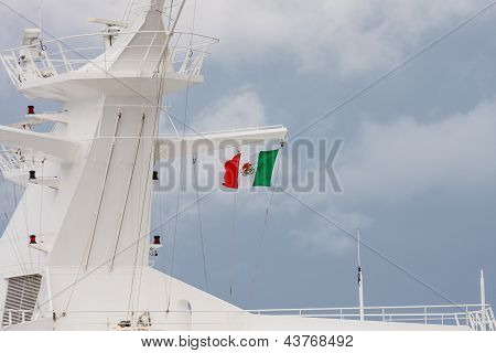 Mexican Flag On Ships Superstructure