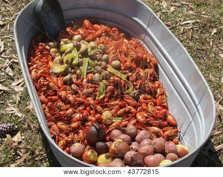 A tub of cooked Craw Fish