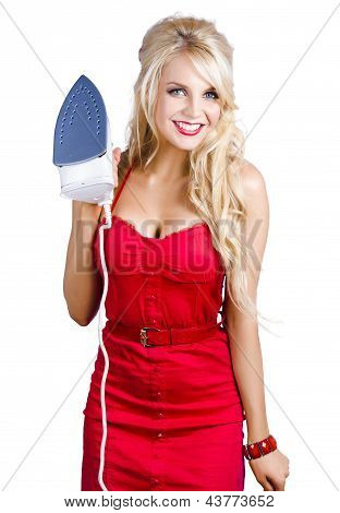 Young Blond Woman With Iron