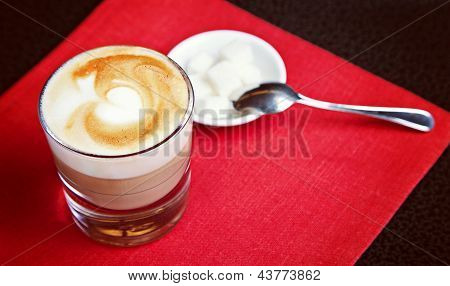 Glass Of Capuccino With Sugar