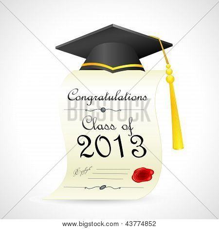 Mortar Board on graduation Certificate