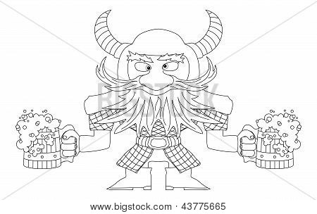 Dwarf with beer mugs, contour