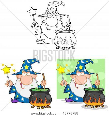 Wizard Waving With Magic Wand And Preparing A Potion.Collection