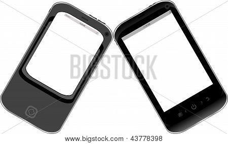 Preto Smartphone conjunto isolado no fundo branco