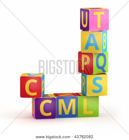 Letter J maked from abc cubes