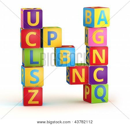 Letter N maked from abc cubes