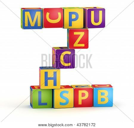 Letter Z maked from abc cubes