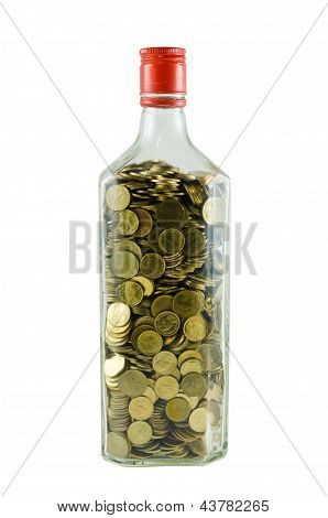 Coins in bottle
