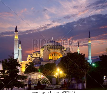 Hagia Sophia In Istanbul At Evening