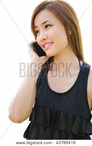 Teen Asian Girl Using Cell Phone.
