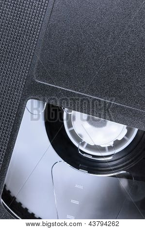 VHS Tape Macro Closeup, Large Detailed Black Retro Videotape Cassette Background, Vertical Epmty