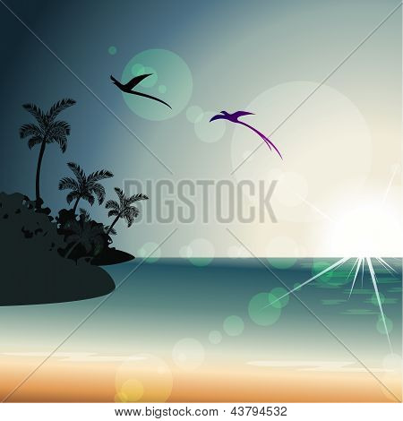 Summertime sunset with transparencies