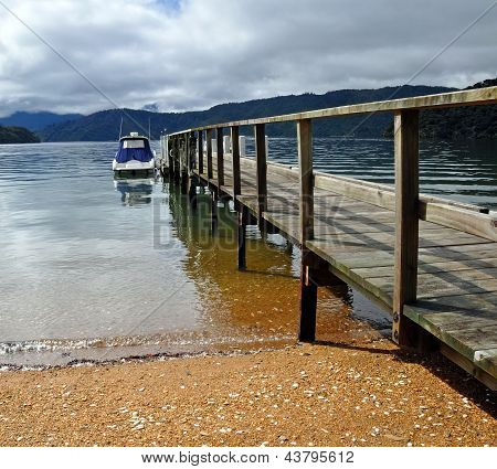 Dartmoor Bay Jetty & Boat, Marlborough Sounds, New Zealand