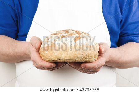 Male hands with bread
