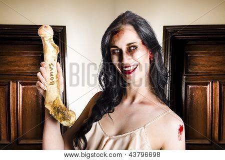Thankful Zombie Businesswoman With Bonus