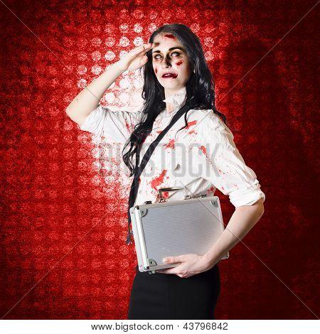 Zombie Business Woman In Red Alert Emergency