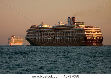 Two Cruise Ships Head Out To Sea