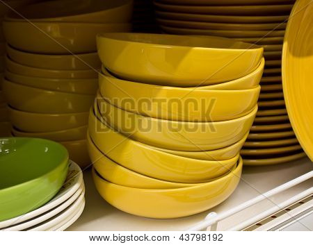 Bunch Of Yellow Plates