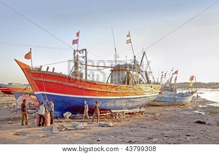 Indian Boatyard In Gujarat At Sundown