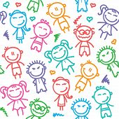 stock photo of amusement  - funny seamless pattern with hand drawn kids - JPG