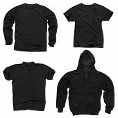 picture of v-neck collar  - Photograph of four wrinkled blank black shirts long sleeve shirt shirt V - JPG