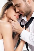stock photo of emotions faces  - Beautiful sexy intimate couple hug each other - JPG