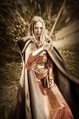 stock photo of valkyrie  - Beautiful blond sexy woman warrior with sword outdoor - JPG