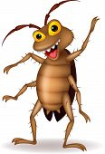 stock photo of cockroach  - Vector illustration of cockroach cartoon waving hand - JPG