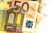 50 Euro Banknote Showing Halogram, Closeup, White Background