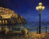 image of lamp post  - An oil painting on canvas of a starry romantic evening at the coast of Amalfi in Italy - JPG