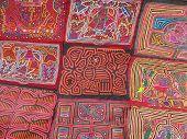 stock photo of mola  - colorfull molas made by kunas a group of natives from Panama - JPG