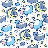 stock photo of counting sheep  - hand drawn seamless pattern with moons - JPG