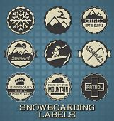 Vector Set: Vintage Style Snowboarding Labels