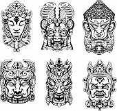 stock photo of vedas  - Hindu deity masks - JPG